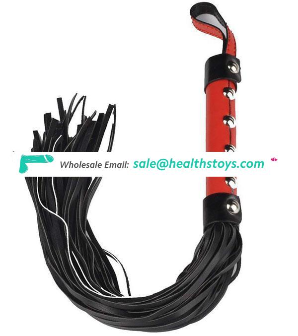 6 Rivets Decorated Handle Red And Black Willow Solid Leather Sex Couple Use Safety For Adult Stimulation Whip
