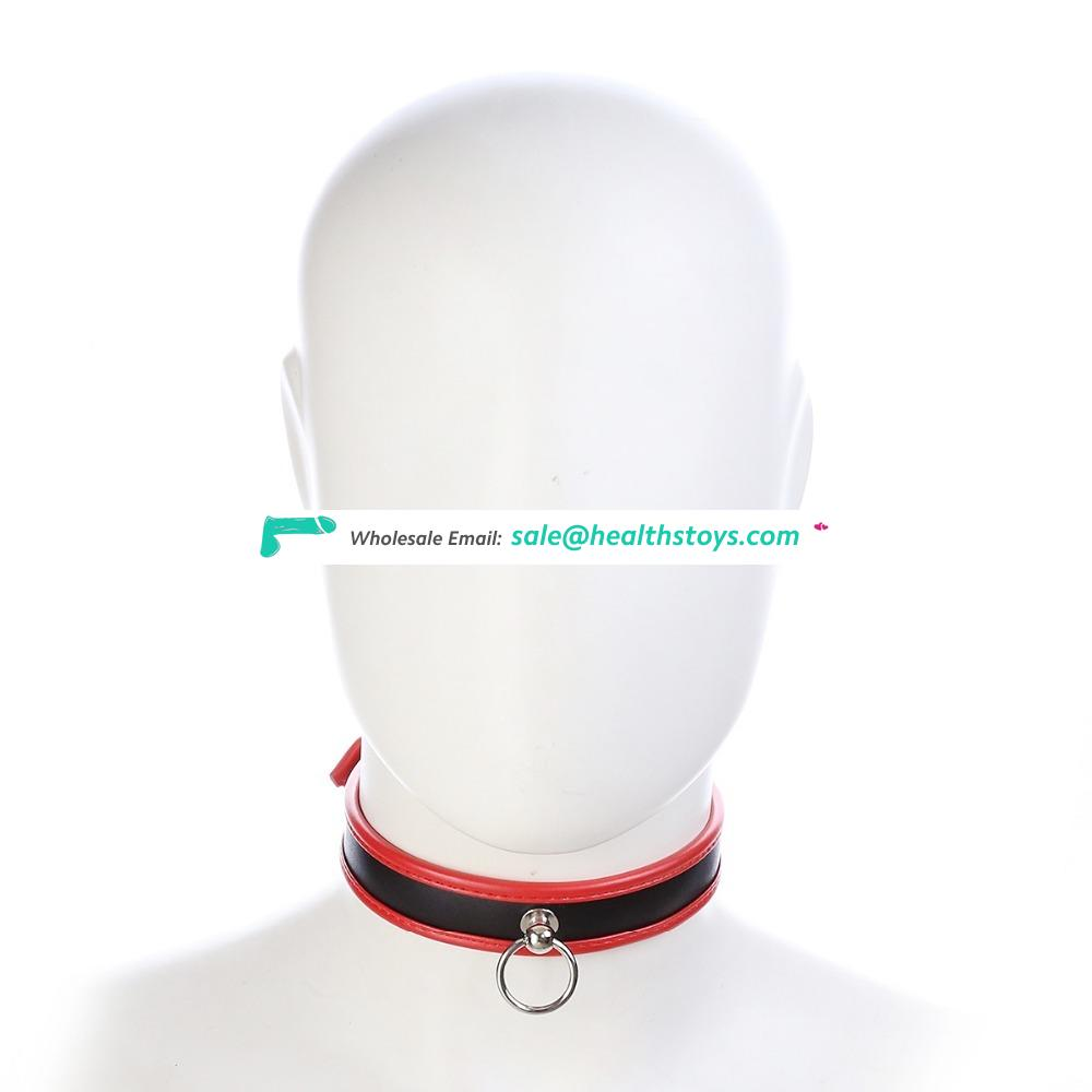 Adult SM Fun Toy Unisex 3 Colors Choice Adjustable High Quality Soft Leather Choker Collar With O Ring Decorated