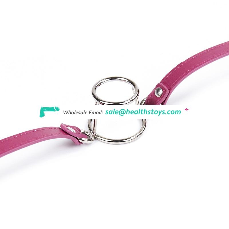 Deep Throat Two Stainless Steel Ring Bondage Mouth For Penise Insert Lockable Mouth Gag Adult Restraint Stimulating Toy