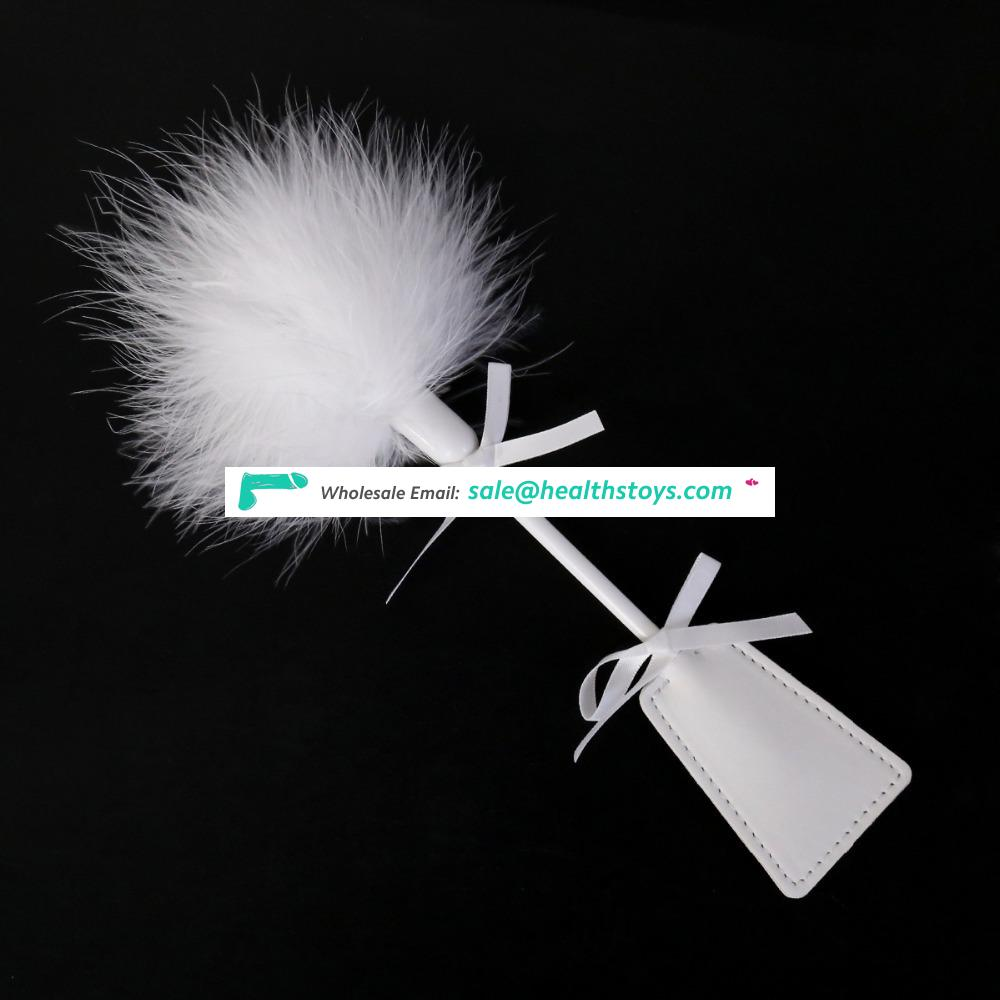 Elegant White Dual Use Furry Feather With Kindky Bowknot Leather Paddle Butt Massage Stimulator Sense Training Tickler