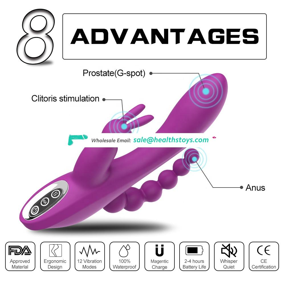New design 12 functions hot sale Double motor strong rabbit G-spot vibrator dildo with anal sex toy adult products for female