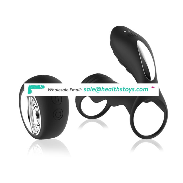 Rubber rechargeable penis vibrating cock ring with wireless remote