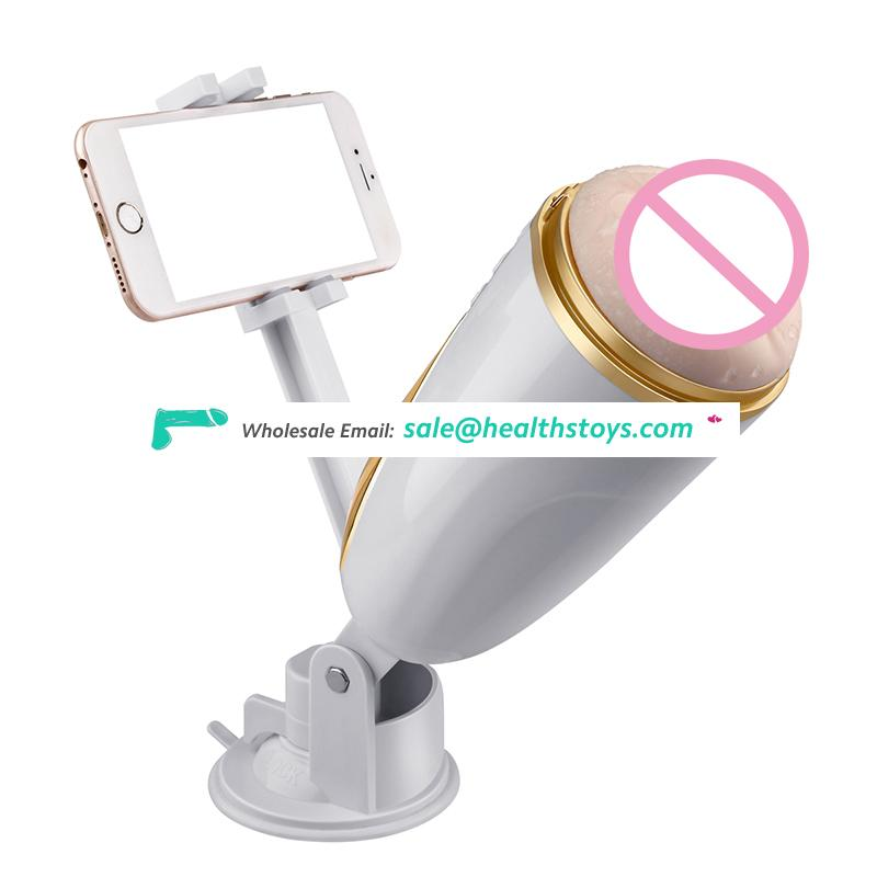 10 speeds vibration handfree masturbation cup with phone rack voice speaking masturbator for men