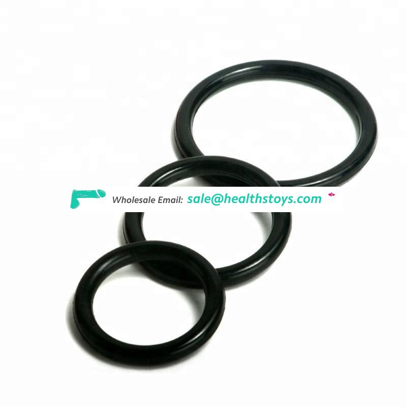 Factory Directly Sale 3pcs Black Silicone Plastic Cork Ring Hot Sale Man Sex Toys Adult Toys