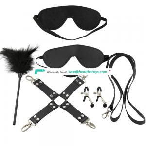 10pc Leather Underbed restraint Bondage Kit Handcuffs/Ankle cuffs/Collar/Ball gag/Whip/Tickler/Mask/Nipple clamp/Hogtie/Rope