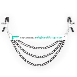 2 Colors Choice Three Chains Design Breast Clips Clamps Nipple Clamps Slave Stimulating Clamps