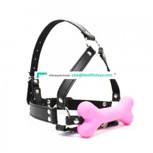 3 Colors Choice Beautiful Adult Sex Toy Silicone Doggy Bone Gag Mouth Gag With Black Leather Triangle Frame Head Harness