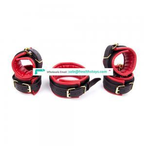 3-piece Soft Leather Warm Sponge Under Bed BDSM Body Bondage Fetish Best Sex Toy Wrist Cuffs Handcuffs Ankle Cuffs Collar Choker