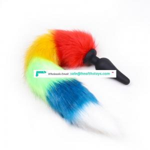 50cm Length Beautiful Rainbow Colorful Faux Fur Tail With Long And Big Black Silicone Stimulating Anal Plug Butt Toy
