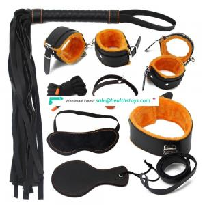 8pc Orange Body Bondage Kit Including Fur Handcuffs/Ankle cuffs/Collar/Ball gag/Whip/Mask/Hogtie/Rope/Paddle