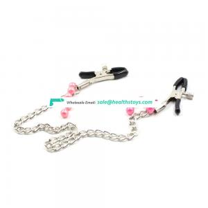 Adult BDSM Breast Stimulating Toy Beads Decorate Long Chain Clips Nipple Clamps Breast Clamps