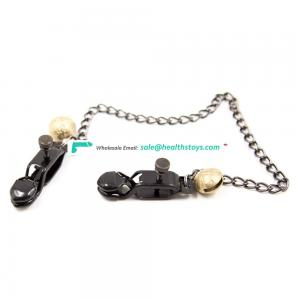 Adult High Pleasure BDSM Breast Stimulating Toy Gold Copper Bell Decorate Black Long Chain Clips Nipple Clamps Breast Clamps