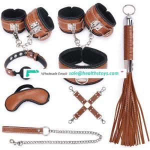 Adult Sex Toy High Quality 8pcs SM Leather Bondage Set Restraint Sex Toys for Couple