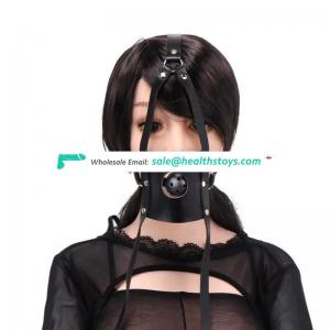 Adult Sex Toy Leather Head Harness Bondage Open Mouth Ball Gag Restraint SM Sex Toys for Couple