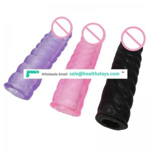 Adult Sex Toy Transparent Colorful Penis Extender Penis Enlargement Sex Toy for Man