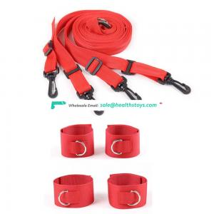 Adult Sex Under The Bed Nylon Bondage Restraint Kit Including Belts And 4 Cuffs Handcuffs Wrist Foot Ankle Cuffs