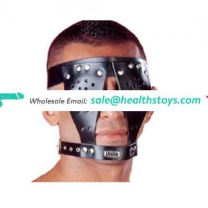 BDSM Black Leather Special Eye Mask With Collar For Adult Sex Fun Toys Mask