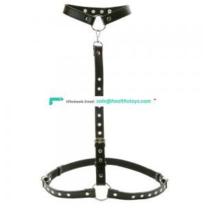 BDSM Body Bondage Restraint Adult Sex Toy Adjustable Black Leather Strap On Harness Breasts With Collar Choker Bondage Neck