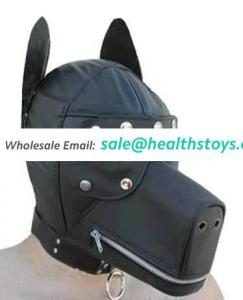 BDSM For Adult Fun Leather Dog Face Hood Full Animal Head Mask