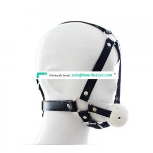 BDSM Product Head Restraint Harness Adjustable Belt With Coloful Plastic Ball Gag Open Mouth Gag