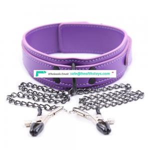 BDSM Sexy Tiny Sex Toy Elegant Nice Purple Leather Nipple Clamps With Bondage Neck Necklace Choker Collar