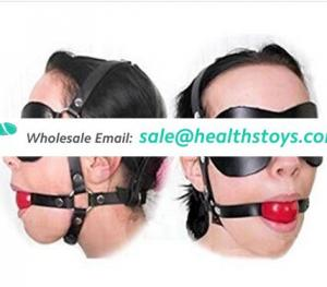 Ball Gag With Leather Blindfold Eyes Mask Mouth Gag For Sex Slave