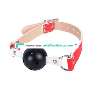 Beautiful Design Mesh Plastic Ball Gag Red Leather Belt Open Mouth Gag Mouth Restraint Toy
