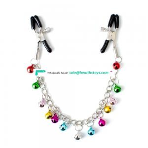 Beautiful Excited Colorful Bells Decorative Chain Breast Clamps Nipple Clamps Vagina Clit Clip Boob Clamps