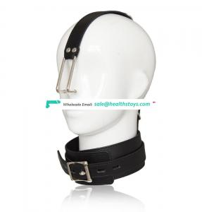 Black Leather High Quality Choker Protect Neck Collar With Nose Hook BDSM Sex Toy In One Piece
