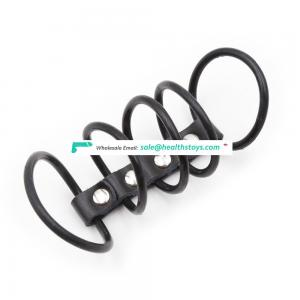 Black Stimluating Silicone Five Rings 5-ring Leather Chain Magic Cool Men Underwear Male Sex Bondage Penis Dick Cock Ring