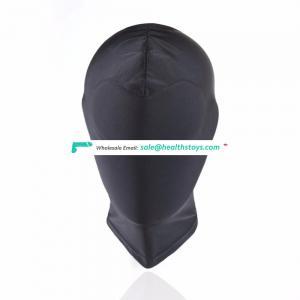Blind Eyes Black Full Head Cover Mask Bondage Restraint Face Hood