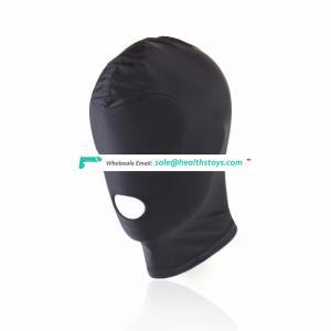 Blind Eyes Open Mouth Black Full Headgear Head Cover Mask Bondage Restraint Face Hood