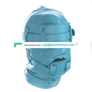 Blue Leather Open Eyes And Mouth With Locks Full Headgear Head Mask Bondage Restraint