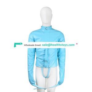 Blue Leather Straitjacket With Thong Belt Strap Lingerie Body Bondage Restraint