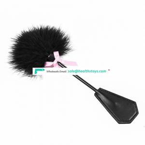 Butt Massage Stimulator Sense Training Dual Use Furry Feather Leather Paddle With Pink Kindky Bowknot Flirting Bondage Tickler