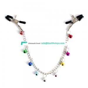 Colorful Bells Decorate Long Chain Clips Nipple Clamps Breast Clamps Adult BDSM Bondage Erotic Toy