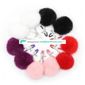 Colorful Soft Fuzzy Furry Pompom Breast Clamps Clip Clitoris Clamp Nipple Clamps Adult SM Love Fun Toy
