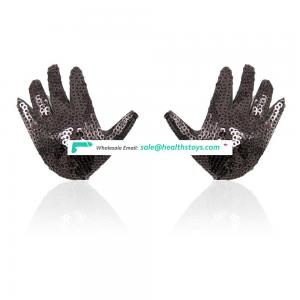 Cute Black Sequin Hands Shape Shinning Bulingbuling Sexy Breast Decoration Breast Covers Nipple Covers