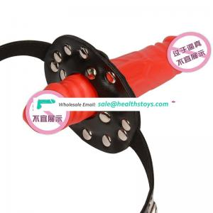 Dual Use Two Ends Dilidos Sex Mouth Gag With Nipple Clamp Leather Belt Rivets Decorated Stimualting Mouth Restraint