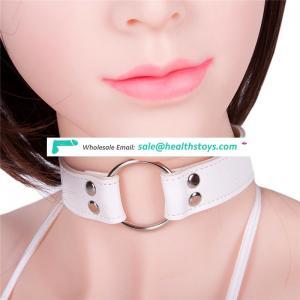 Elegant Leather Collar With Metal Circular Ring Women Ladies Short Necklace Bondage Decorative Sexy Neck Choker