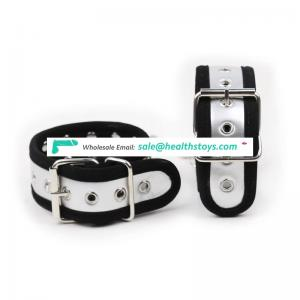 Elegant Unisex Black Bordure Silver Cuffs With Metal Chain Wrist Cuffs Handcuffs Ankle Cuffs