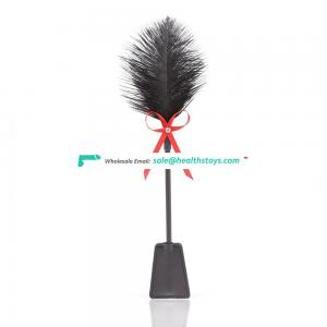 Enjoy Ostrich Feather With Beautiful Red Kindky Bowknot Ribbon BDSM Flirting Fetish Toy Slapper Bondage Tickler Paddle