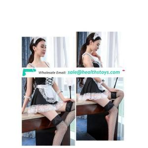 European and American sexy lingerie sexy transparent lace maid dress cute maid uniform temptation set