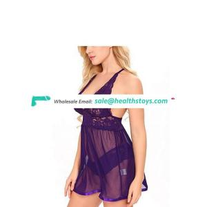 European and American sexy lingerie sexy transparent lace mesh neck sexy pajamas