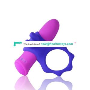 Extreme enjoyment wearable soft silicone mini penis sleeve with bullet vibrator vibrating cock ring
