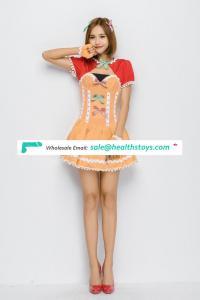 Fancy Red Waistcoat Joint Orange Leakage Chest Short Dress Costume