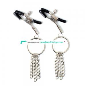 Fashion Beautiful Stainless Steel O-ring And Tassel Decorative Breast Clamps Nipple Clamps Vagina Clit Clip