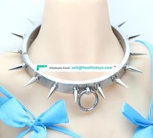 Fetish Restraint Ties Spikes Heavy Stainless Steel Bondage Necklace Collar With O-ring