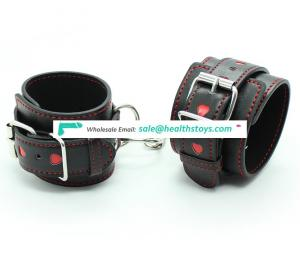 For Adult Slave Flirting Love Game Small Red Heart Shape Black Leather Belt Two Type Wrist Cuffs Ankle Cuffs