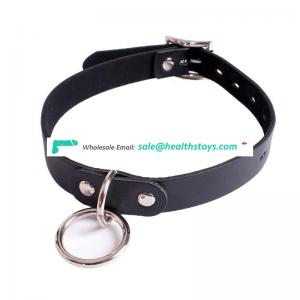 For Girl Ladies Women Elgant Black Leather Neck Decoration Collar Bondage Restraint Choker With Circular Ring